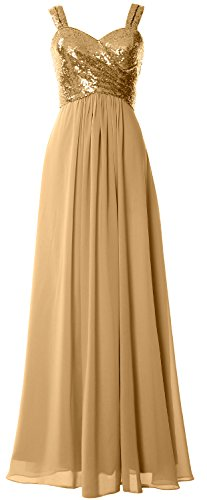 Macloth Straps Gown Cowl Wedding Sequin Long Gold Dress Women Back Bridesmaid Formal RZqrxRw