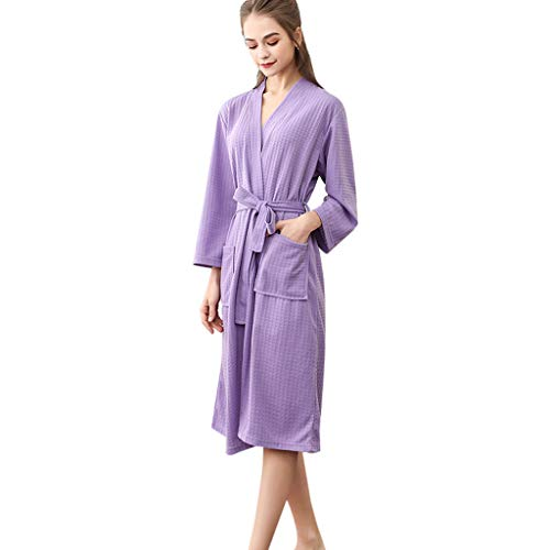 (Clearance Sales Christmas Unisex Winter Kimono Robe Bathrobe Soft Sleepwear Waffle One Piece Splicing Lengthened Homewear (A_Purple, M))