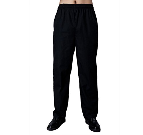 Nanxson-Men-Women-Black-Pants-HotelKitchen-Uniform-Elastic-Waist-Chef-Pants-CFM2008-Black-26-35W