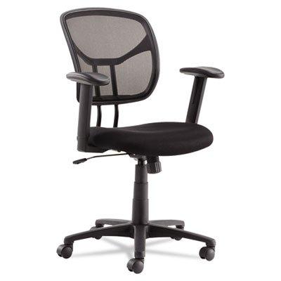 Swivel/Tilt Mesh Task Chair, Height Adjustable T-Bar Arms, Black/Chrome, Sold as 1 (Height Adjustable T-bar Arms)