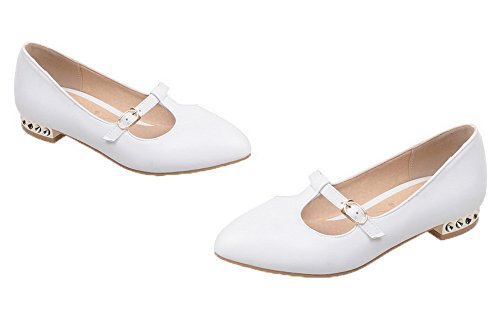 Amoonyfashion Womens Pu Pull-on Punt-teen Lage Hakken Stevige Pumps-schoenen Wit
