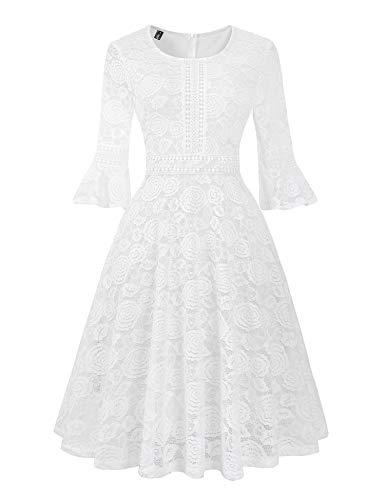Twinklady Women's Vintage Full Lace Bell Sleeve Big Swing A-Line Dress (White, XL)