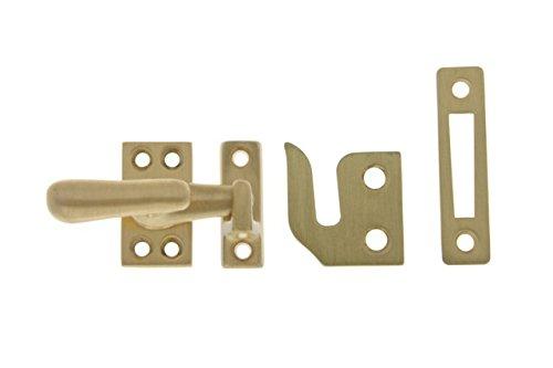 Brass Casement Fastener Satin - Professional Grade Quality Genuine Solid Brass Large Window Casement Fastener by idh (Satin Brass)