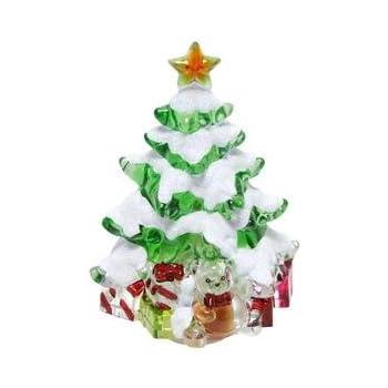 Roman Snow Covered Christmas Tree 5 Inch Acrylic Swivel Plug-in Bubble Night Light