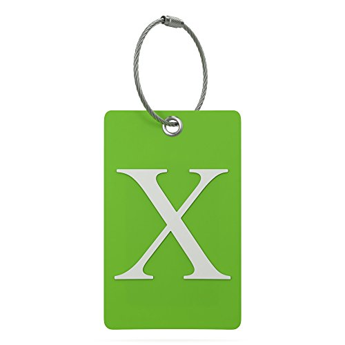Luggage Tag Initial - Fully Bendable Tag w/Stainless Steel Loop (Letter X)