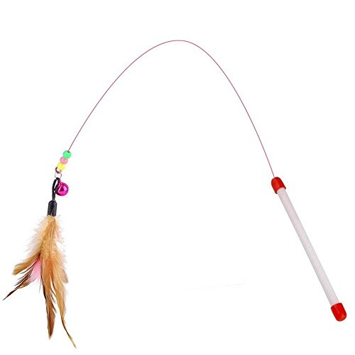Teaser Wand Cat (Fishfly Cat Teaser Cat Wire Dangler Wand Toys with Beads Bells and feather Interactive)