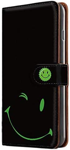 [FFANY] Galaxy Feel2 (SC-02L) スマホケース 手帳型 ミラータイプ [スマイル・グリーン] smile 缶バッチロゴ ニコちゃん ウインク ギャラクシー フィールツー スマホカバー 携帯ケース blacksmile 081@05m