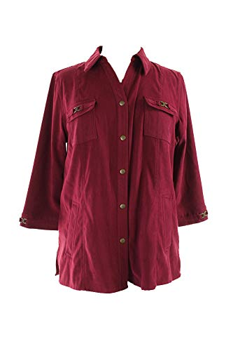 JM Collection Women's Faux Suede Snap Front Jacket (PL, Plum Tart)