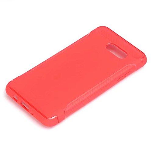 JIALUN-Personality teléfono shell Cubierta trasera dura a prueba de choques de la fibra de carbono ultrafina Cubierta protectora completa de la caja del cuerpo de TPU 360 ° para Samsung Galaxy J5 2017 Red