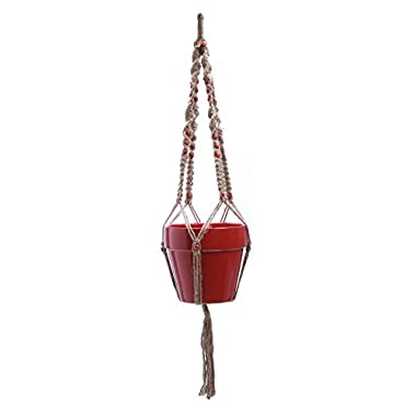 Plant Hanger Macrame Jute 4 Legs 48 Inch with Beads AM6832, #1 Best Recommended For Indoor Outdoor Patio Deck Ceiling Round & Square Pots, Unique Design, Hand Knotted Retro Feeling & Unmatched Finesse