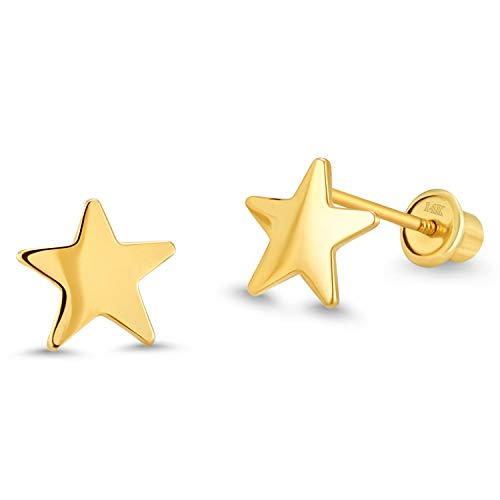 (14k Yellow Gold Plain Star Children Screwback Baby Girls Stud Earrings)