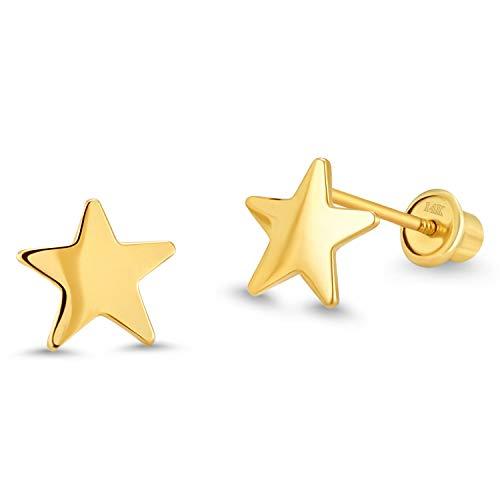 14k Yellow Gold Plain Star Children Screwback Baby Girls Stud Earrings