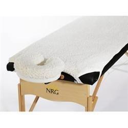 NRG Fleece Massage Table Pad and Face Rest Cradle Cover Set, Cream, 2 PC Set - Fleece Face Cradle Cover