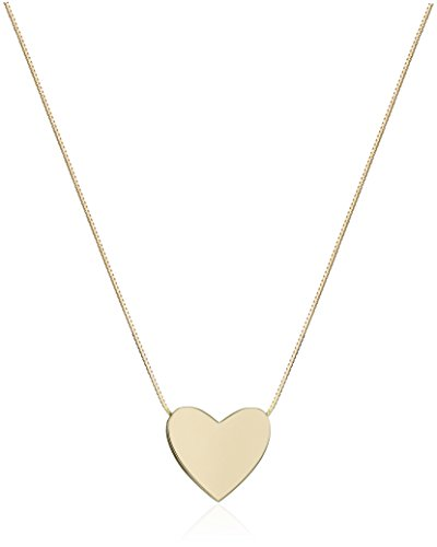 14k Yellow Gold Floating Heart Pendant Necklace, 17