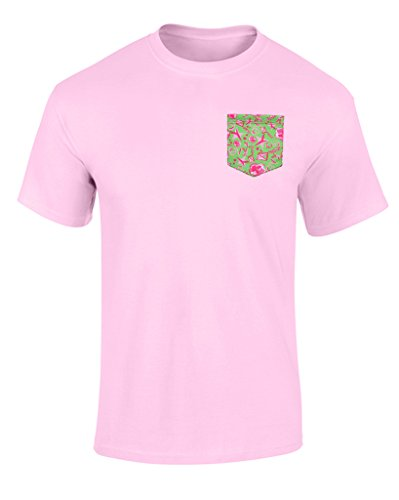 Kappa Alpha Theta Pattern Pocket T Shirt Pink-Green Pink Medium