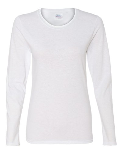 Gildan womens Heavy Cotton 5.3 oz. Missy Fit Long-Sleeve T-Shirt(G540L)-WHITE-M