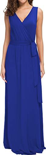 POKWAI Women Sleeveless Maxi Dress Casual Long Dresses Beach Dresses Bohemian Printed Dresses (Royal Blue ()