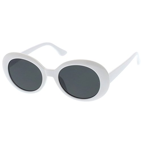 sunglassLA - Retro Oval Sunglasses Tapered Arms Neutral Colored Round Lens 53mm (White / - The Sunglasses Round Row
