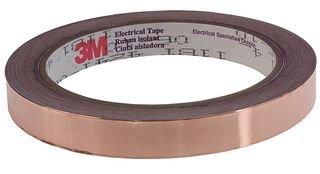 3M 1181 TAPE (1/2''X18YDS) TAPE, FOIL SHIELD, COPPER, 0.5INX18YD by 3M