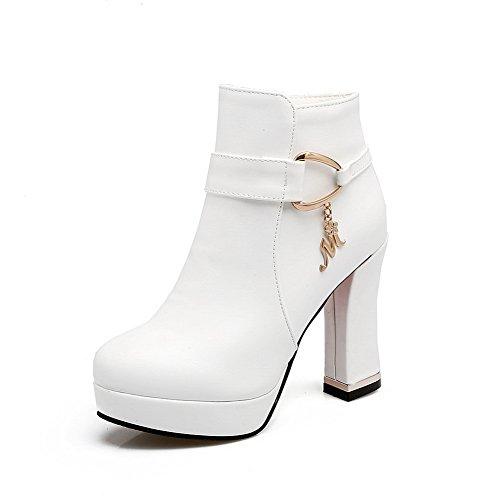 BalaMasa Womens Zipper Boots Solid Comfort Platform Urethane Boots White