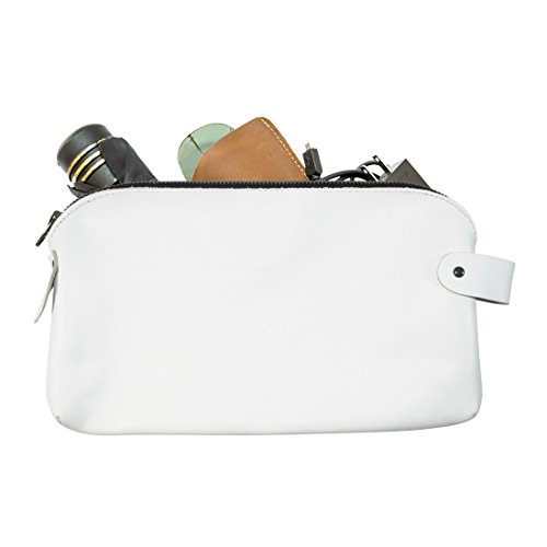 Large All Purpose Dopp Kit Utility Bag (Cords, Chargers, Tools, School / Office Supplies) Handmade by Hide  Drink :: White