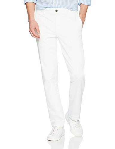 Goodthreads Men's Straight-Fit Washed Stretch Chino Pant, White, 42W x - White Pants Stretch Linen