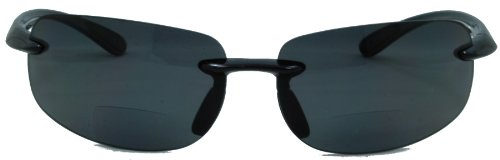 Lovin Maui Wrap Around Polarized Nearly Invisible Line Bifocal Sunglasses/black/3.00 Strength