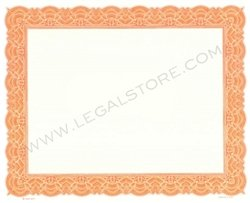 Goes Blank Stock Certificates, Large Border, 10'' x 8'', Orange, 500 per package