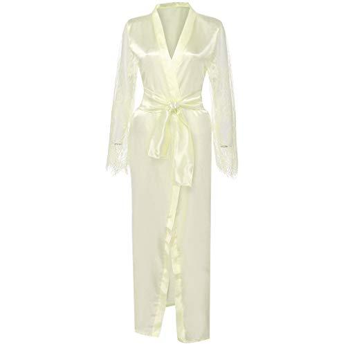 - Beautyfine Women Sexy Long Silk Lace Trim Satin Sleepwear Dressing Gown Babydoll Bath Robe Lingerie with Belt White