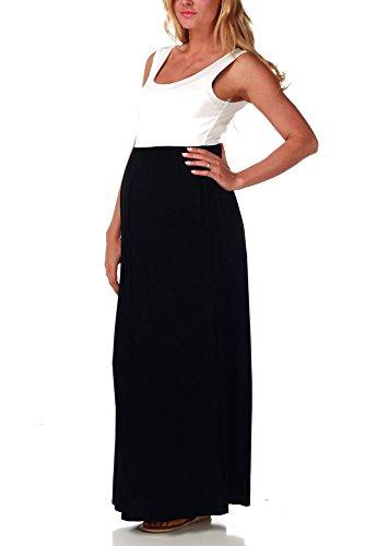 PinkBlush Maternity Black White Colorblock Maternity Maxi Dress, Medium