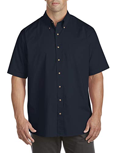 Harbor Bay by DXL Big and Tall Easy-Care Solid Sport Shirt Navy - Harbor Bay Big Tall