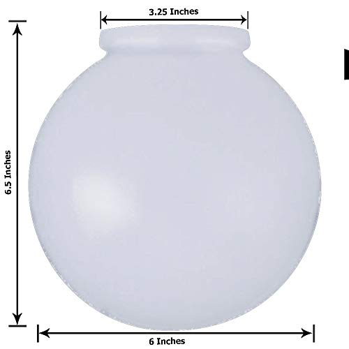 (KOR K21815 6-Inch White Glass Globe Lamp Shade - 3-1/4-Inch Fitter Opening - Lighting Fixture Replacement)
