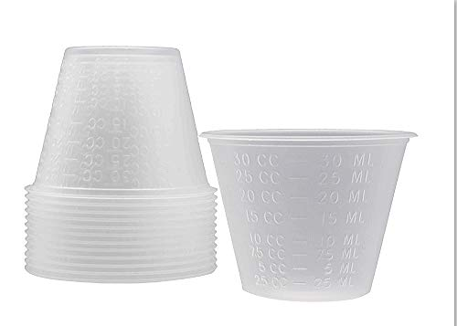 Medicine Cups 1 oz. Pack of 100 Translucent Polypropylene Cups. Two measurements. Unbreakable construction, easy to read, latex-free.