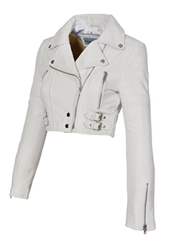 A1 FASHION GOODS White Leather Womens Biker Jacket Short Cropped Fitted Bolero Bustier Coat Amanda (Leather Cropped Jacket)