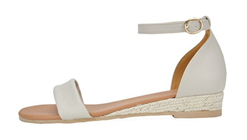 DREAM PAIRS Women's Formosa_10 Nude Low Platform Wedges Ankle Strap Sandals Size 8 B(M) US by DREAM PAIRS (Image #1)