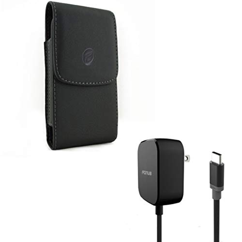 Case Belt Clip w Fast Home Charger A5G Compatible with Alcatel Idol 5S 5 - BlackBerry Key2, KEYone, LE - Google Pixel 3a - HTC U11 Life - Huawei P30 - Black Leather Blackberry Pouch
