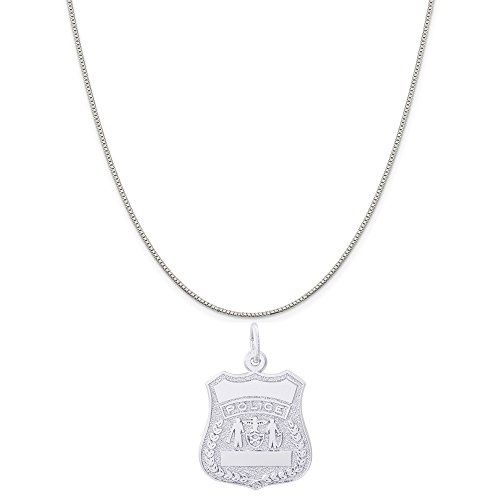 Authentic Police Uniform (Rembrandt Charms 14K White Gold Police Badge Charm on a 14K White Gold Box Chain Necklace, 16