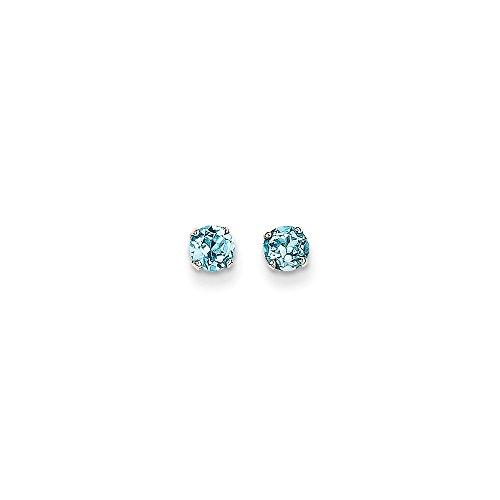 Top 10 Jewelry Gift 14k White Gold 4mm Blue Topaz Stud Earrings