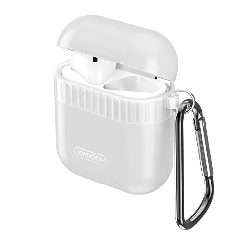 (JOYROOM AirPods Case Cover, Premium Protective Skin for Apple AirPods Charging Case (Also Fit Latest Mode AirPods 2), with Keychain, Cleaning Brush, Anti-Lost Silicone AirPods Strap - Transparent)