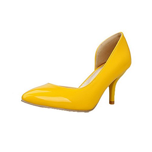 Odomolor Women's Kitten-Heels Patent Leather Solid Pull-On Closed-Toe Pumps-Shoes, Yellow, 44