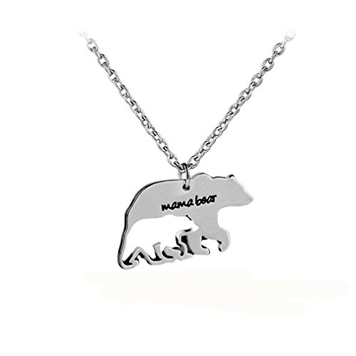ShungHO Mama Bear Necklace Mama Bear Necklace Pendant For Mom Gift Mother's Day Birthday Gift Family Sweet Jewelry