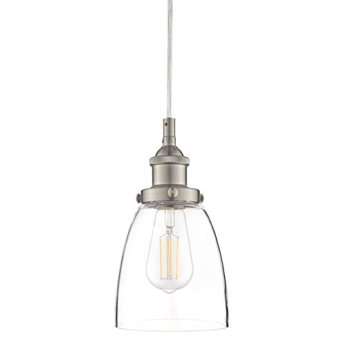 Light Brushed Single Nickel - Fiorentino Brushed Nickel Pendant Light - w/ Clear Glass Shade - Linea di Liara LL-P281-BN