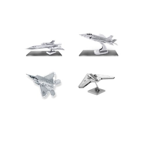 Set of 4 Metal Earth 3D Laser Cut Lockheed Martin Plane Models: F-35 Lightning - F-22 Raptor - RQ-170 Sentinel - SR-71 Blackbird (Sr Plane 71 Blackbird)