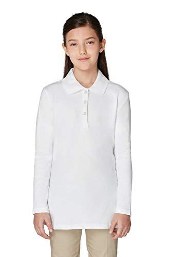 Uniform French (French Toast Big Girls Long Sleeve Picot Collar Interlock Polo, White, Medium/7/8)