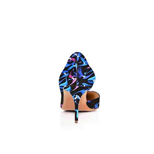 Fsj Kvinder Sexet Flerfarvede Spidse Tå Pumps Glide På Midten Høje Hæle Kjole Sko Størrelse 4-15 Os Blå-7,5 Cm