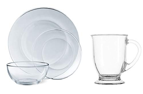 Mainstays 12-Piece Round Clear Glass Dinnerware Set bundle with Anchor Hocking 4-Piece Cafe Mug Set in Clear.