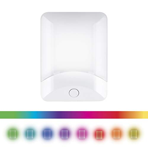 GE Color Changing LED Night Light, 8 Different Colors, Energy Efficient, Light Sensing, Ideal for Bedroom, Hallway, Stairs, Kitchen, Garage, Utility Room, Laundry Room, White Base, -