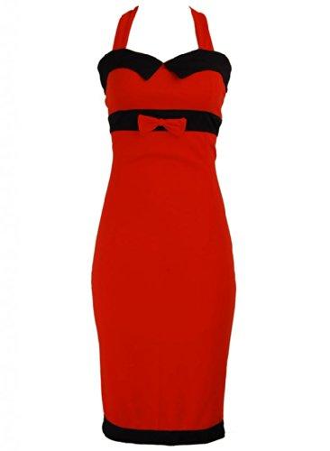 Red Bow Black Trim Pinup 1950s Rockabilly Pencil Women's Dress - Medium