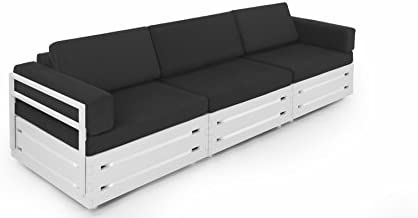 Slim Furniture Full Size Furniture 3 piece Couch with Wood and Fabric, Full Size, White/Black