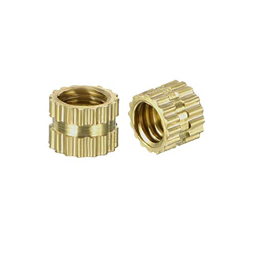 uxcell Knurled Threaded Insert, M4 x 4mm L x 5mm OD Female Thread Brass Embedment Nuts, Pack of -